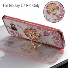 Peacock Ring Stand Case with Auora Flower Crystals for Galaxy C7 Pro Back Cover Rose Gold